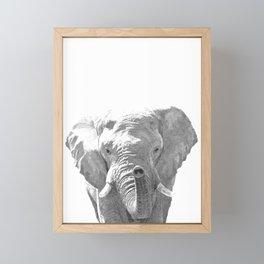 Black and white elephant illustration Framed Mini Art Print
