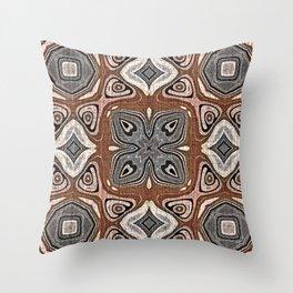 Gray Brown Taupe Beige Tan Black Hip Orient Bali Art Throw Pillow