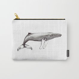 Humpback whale black and white ink ocean decor Carry-All Pouch