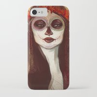 sugar skull iPhone & iPod Cases featuring Sugar Skull by LaurenceBaldetti
