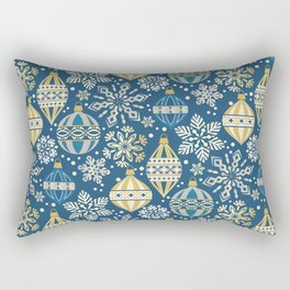 Christmas Ornaments and Snow Rectangular Pillow