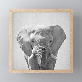 Elephant - Black & White Framed Mini Art Print