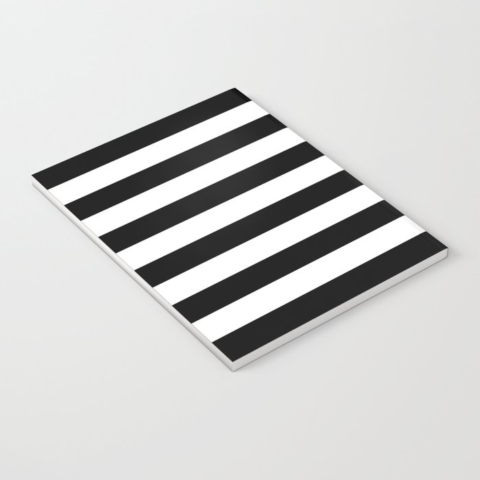 Stripe Black & White Horizontal Notebook