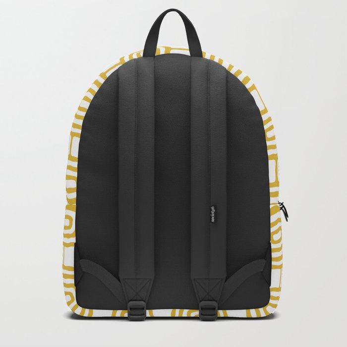 Mid Century Modern Atomic Rings Pattern Mustard Yellow 3 Backpack