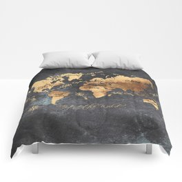 world map 147 gold black #worldmap #map Comforters