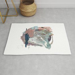 In the Clouds: a minimal mixed media piece in blues, pinks, white, and purple Rug