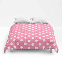 Small Polka Dots - White on Flamingo Pink Comforters