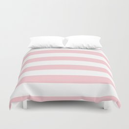 Large White and Light Millennial Pink Pastel Cabana Tent Stripe Duvet Cover
