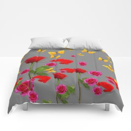 RED &  FUCHSIA PINK ROSES YELLOW BUTTERFLIES ABSTRACT Comforters