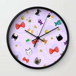 Cat Pattern Purple Wall Clock