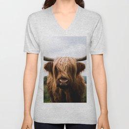 Scottish Highland Cattle in Scotland Portrait II Unisex V-Neck