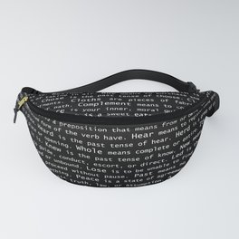 Top Grammar Mistakes From Homonyms: A Unique Gift for Writers and Editors (White Text on Black) Fanny Pack