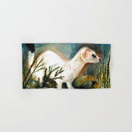 Winter stoat watercolor Hand & Bath Towel