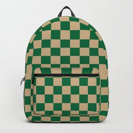 Tan Brown and Cadmium Green Checkerboard Backpack
