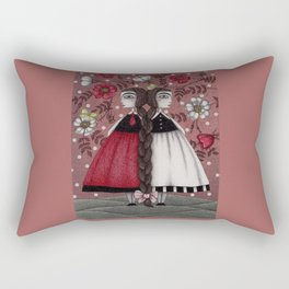 Snow-White and Rose-Red (1) Rectangular Pillow