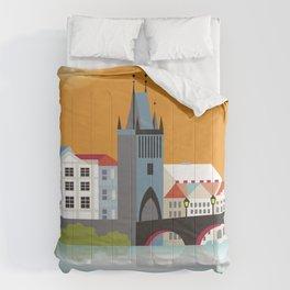 Prague, Czech Republic - Skyline Illustration by Loose Petals Comforters