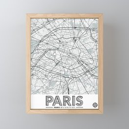 Paris France Map With Coordinates Framed Mini Art Print