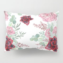 Succulents Pastel Red Pink Mint Green Pattern Pillow Sham