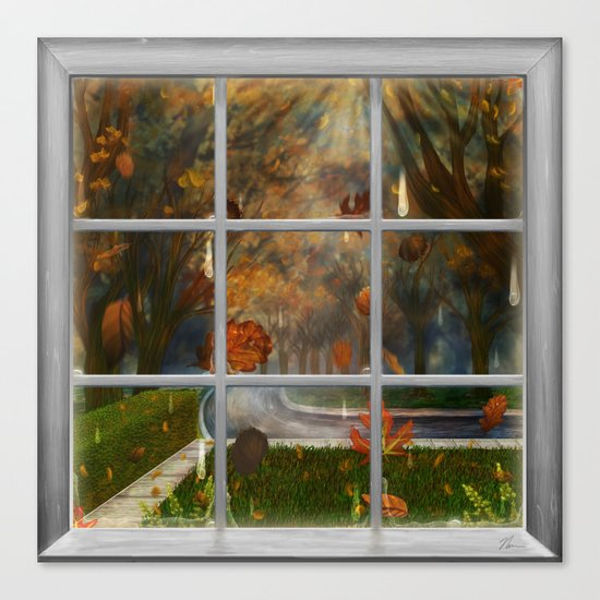 One Rainy Day In The Fall - Painting Canvas Print