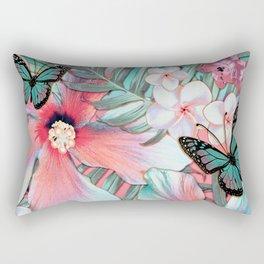 Peachy Mint Hibiscus Tropical Rectangular Pillow