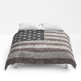 US Flag in vintage retro style Comforters