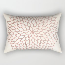 Mandala Flower Rose Gold on Cream Rectangular Pillow