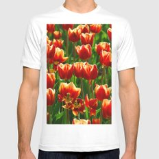 Red Tulips Mens Fitted Tee MEDIUM White