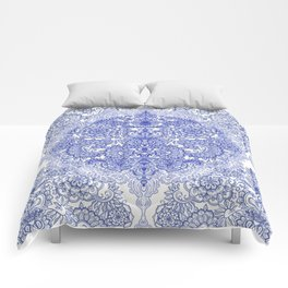 Happy Place Doodle in Cornflower Blue, White & Grey Comforters