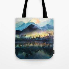 Mountain Lake Under Sunrise Tote Bag