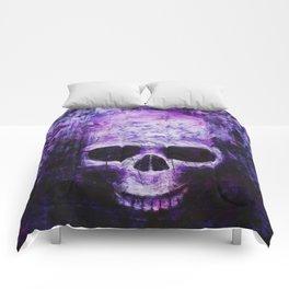 craneo morado - purple skull Comforters