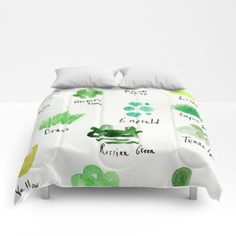 Greens -a watercolor collection of shades Comforters