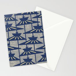 Mid Century Modern Pendant Lamp Composition Gray and Blue Stationery Cards