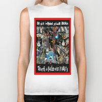 fault Biker Tanks featuring FAULT WITH REALITY by LIGGYZIGHAT