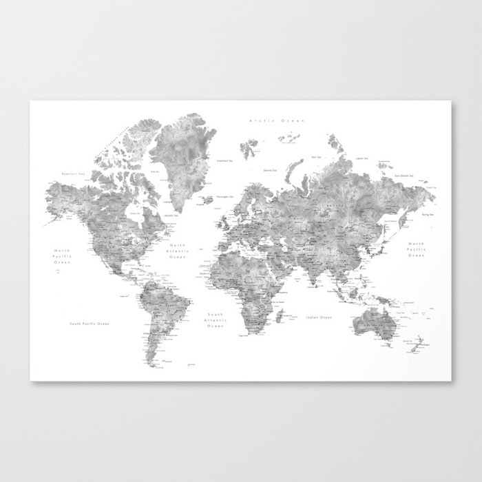 Grayscale watercolor world map with cities Leinwanddruck