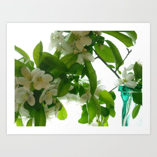 Crabapple Blossoms and Green Glass ~ flowers Art Print