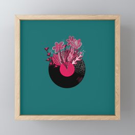 Record with floral flowers bright pink colorful music themed Framed Mini Art Print