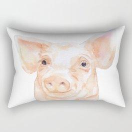 Pig Face Watercolor Farm Animal Rectangular Pillow