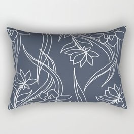 Floral Drawing in Blue Rectangular Pillow