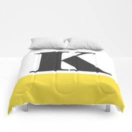 Monogram Letter K-Pantone-Buttercup Comforters