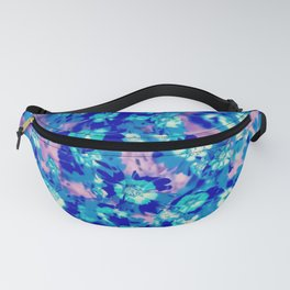 blooming blue flower abstract with pink background Fanny Pack