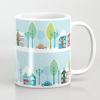 house Mugs featuring Ski house by Polkip