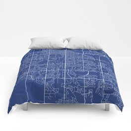 Fort Collins Map, USA - Blue Comforters