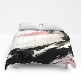 Crash: an abstract mixed media piece in black white and pink Comforters