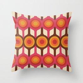 Magenta, Orange, Ivory & Brown Retro 1960s Circle Pattern Throw Pillow