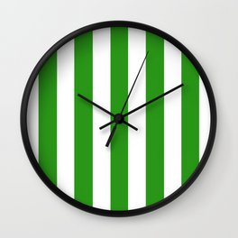 Slimy green - solid color - white vertical lines pattern Wall Clock
