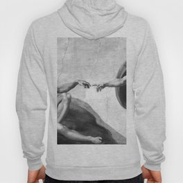 Black and White Creation of Adam Painting by Michelangelo Sistine Chapel Hoody