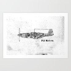 North American P51 Mustang (black) Art Print