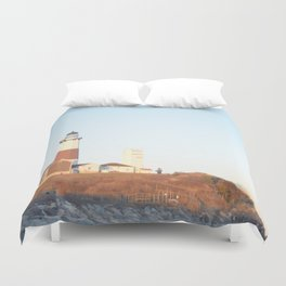 Sunset at Lighthouse in East Hampton Duvet Cover