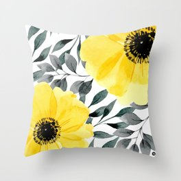 Big yellow watercolor flowers Deko-Kissen
