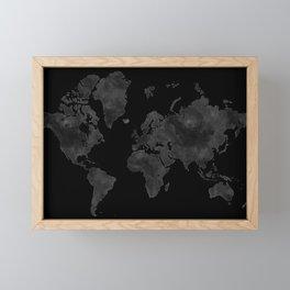 "Black and gray watercolor world map ""Coal mine"" Framed Mini Art Print"